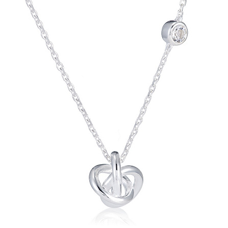 Links Of London Love Knot White Topaz 45cm Necklace Sterling Silver Qvc Uk