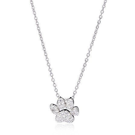 Diamonique 02ct tw dog paw pendant chain sterling silver qvc uk mozeypictures Gallery