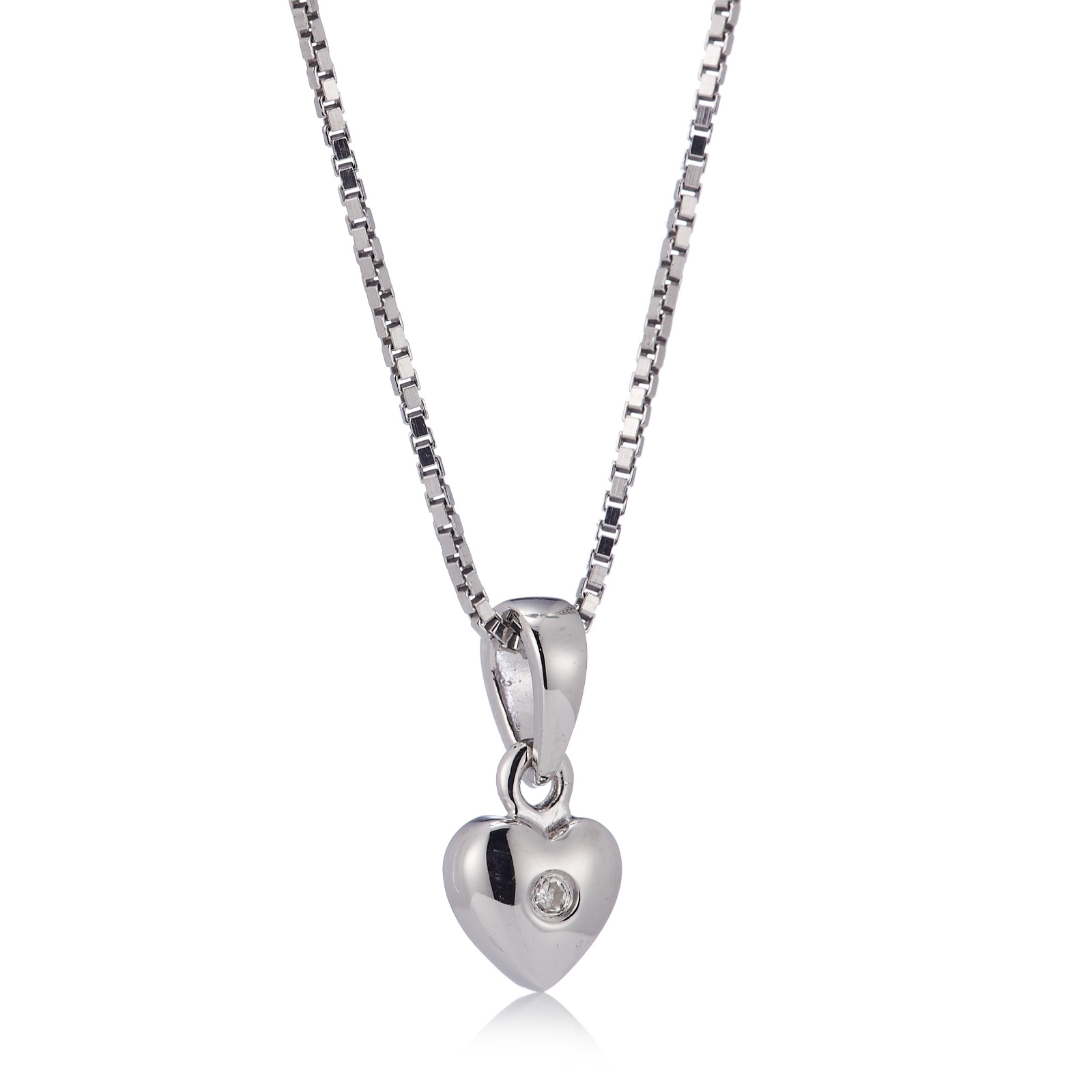 D for Diamond Heart Pendant on a 35cm Chain