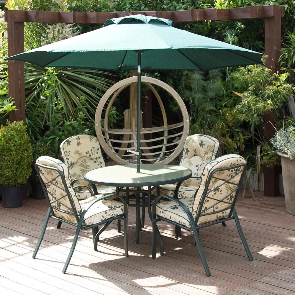 Garden Furniture Qvc meadow 4 chairs, table & parasol garden furniture set - qvc uk