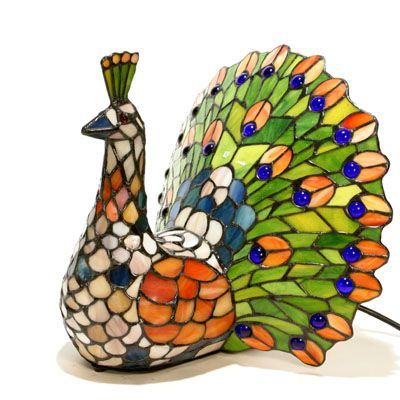 Tiffany Style Handcrafted Peacock Novelty Lamp   QVC UK