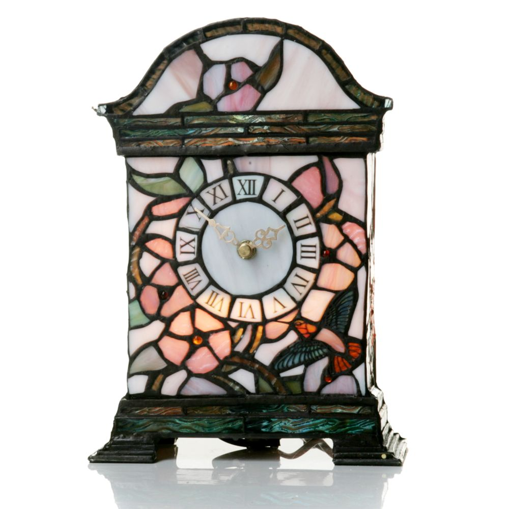 Tiffany Style Handcrafted Hummingbird Clock   QVC UK