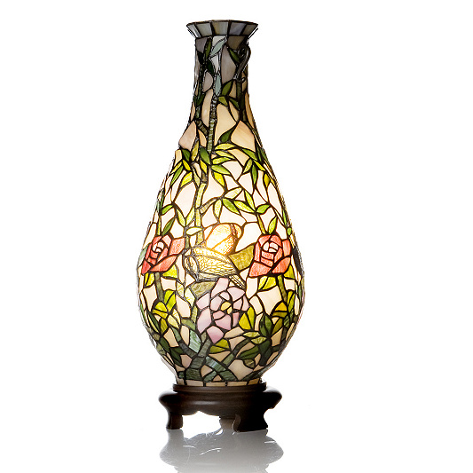 Tiffany Style Handcrafted Floral Lit Vase   QVC UK. Tiffany Style Lamps Qvc Uk. Home Design Ideas