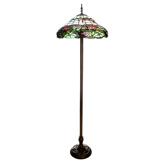 Tiffany style handcrafted dragonfly water lily floor lamp qvc uk aloadofball Image collections
