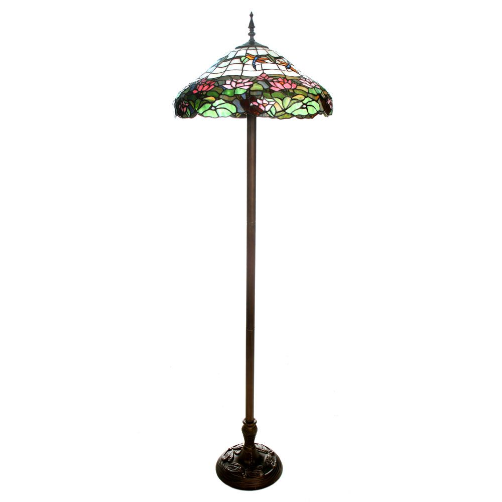 Elegant Tiffany Style Handcrafted Dragonfly U0026 Water Lily Floor Lamp   QVC UK