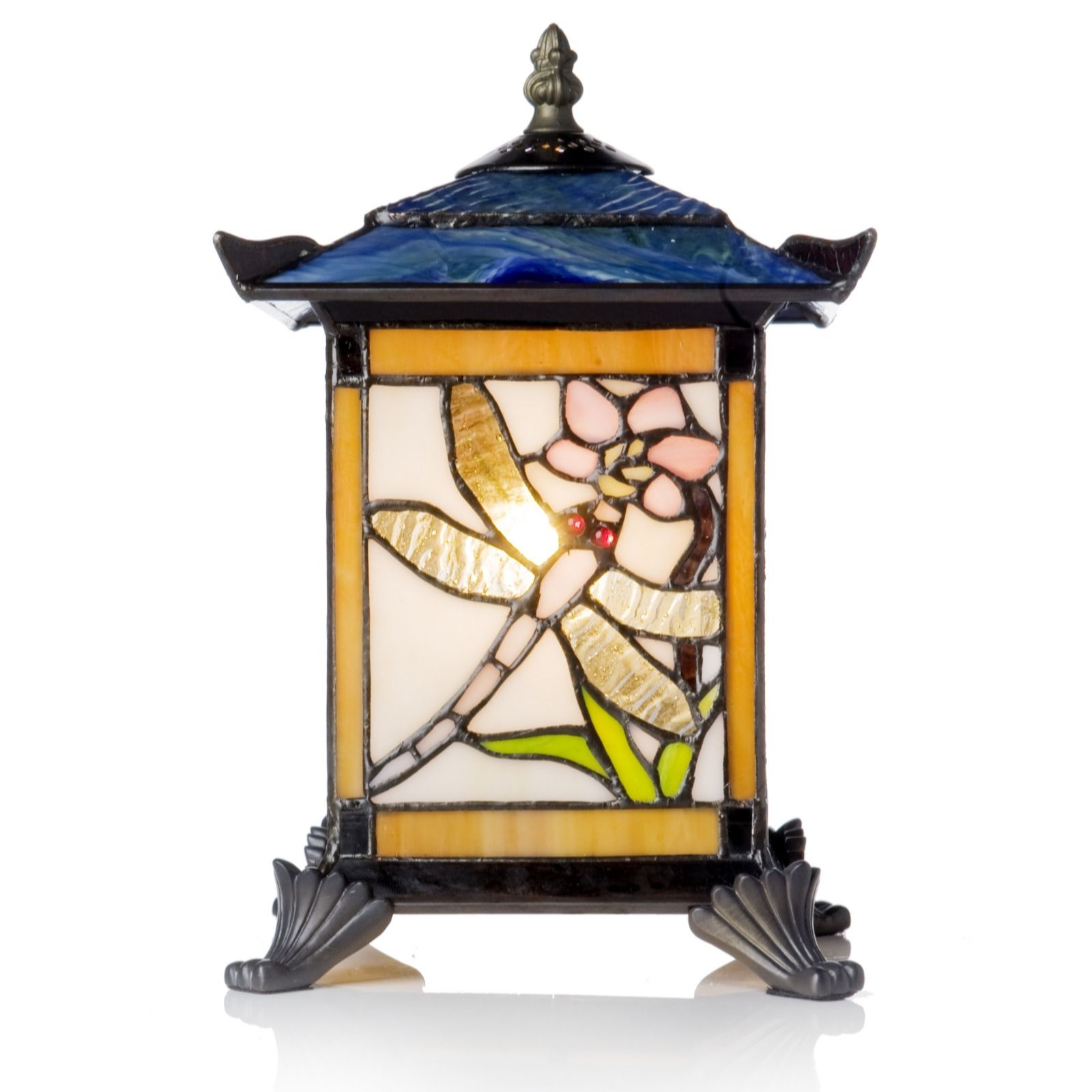 Tiffany Style Handcrafted Dragonfly Lantern Novelty Lamp   QVC UK