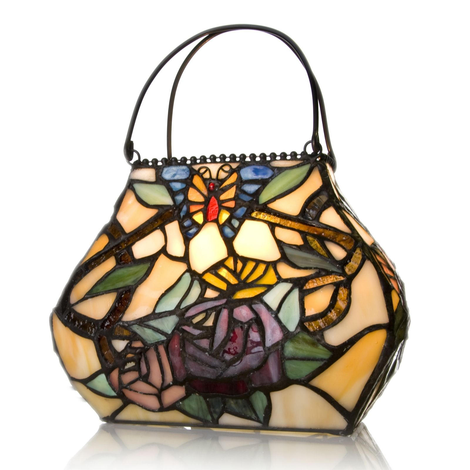 Tiffany Style Handcrafted Sunkissed Rose Handbag Accent Lamp   QVC UK