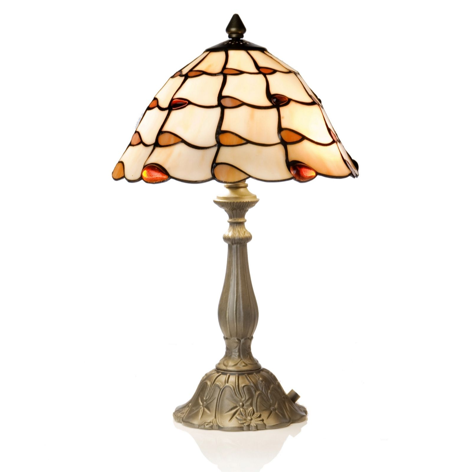 Wonderful Tiffany Style Handcrafted Jewelled Ballroom Skirt Table Lamp   QVC UK