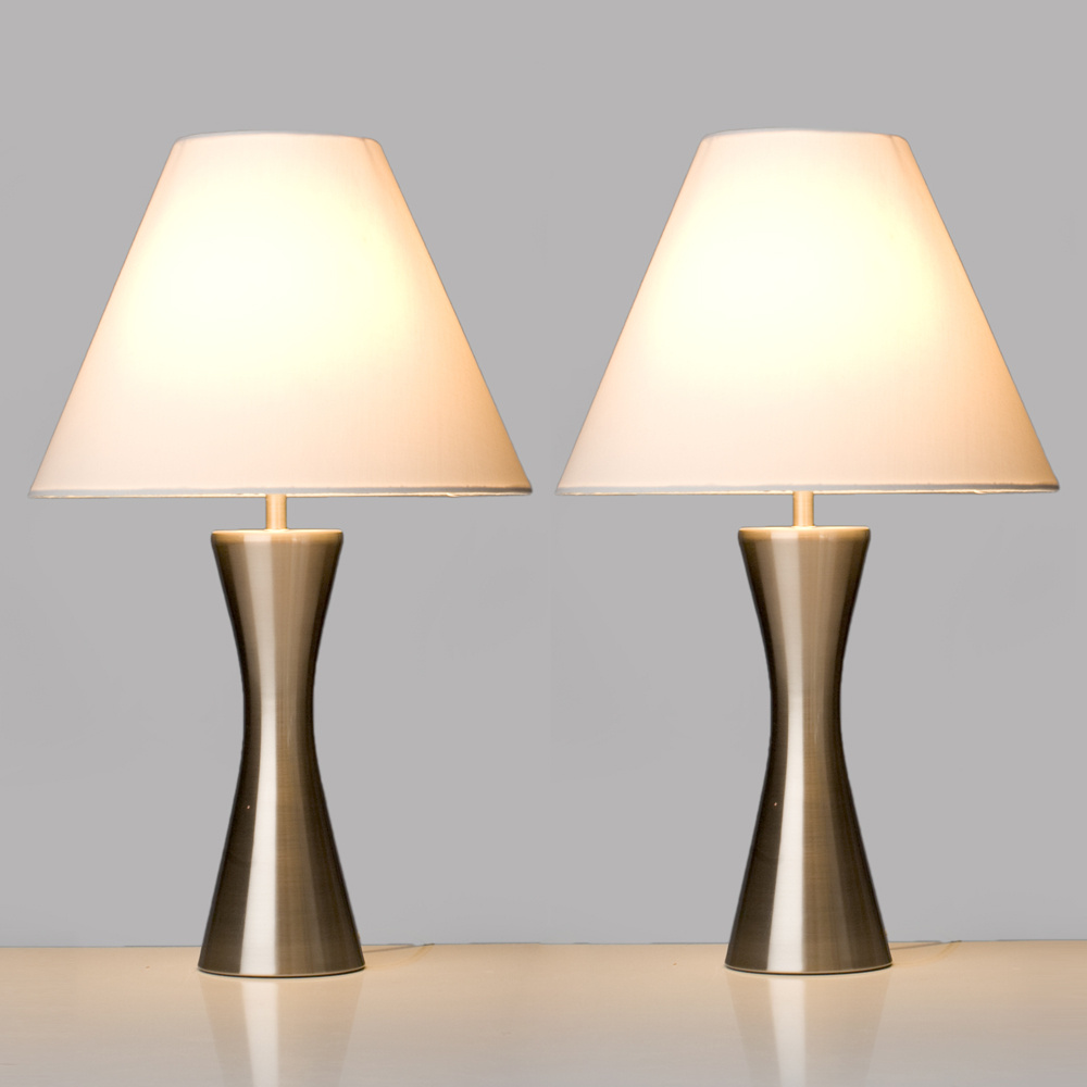 Brushed chrome set of 2 touch table lamps qvc uk