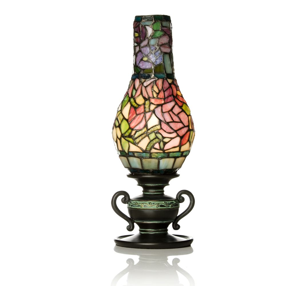 Attractive Tiffany Style Handcrafted Floral Bloom Hurricane Novelty Lamp   QVC UK