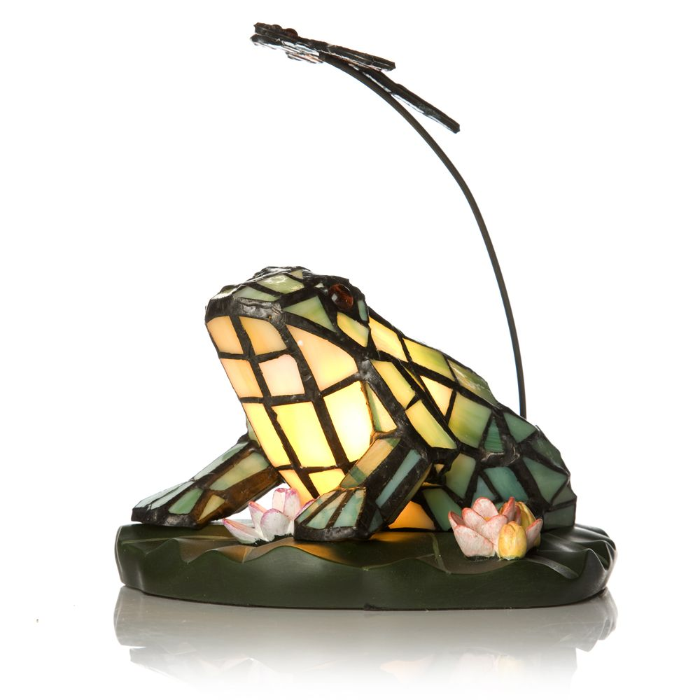 Tiffany Style Handcrafted Frog U0026 Dragonfly Novelty Lamp   QVC UK