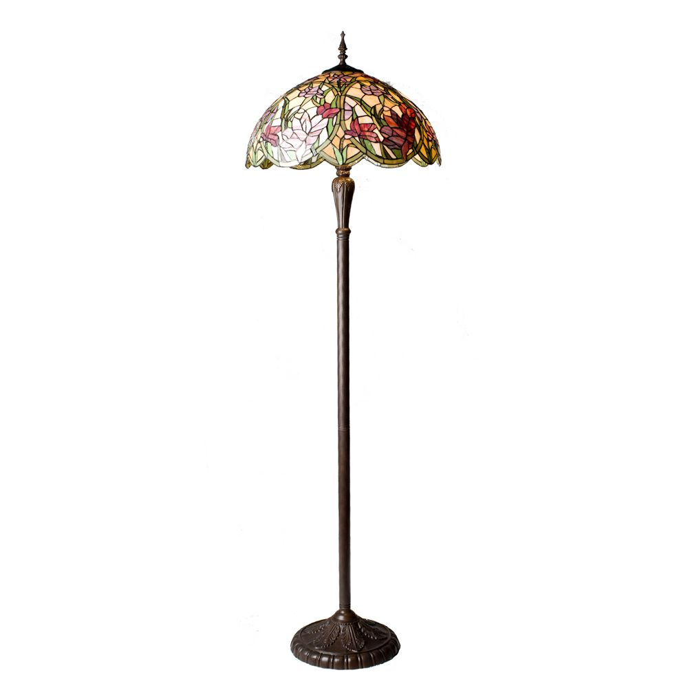 Tiffany Styled Handcrafted Flower Meadow Floor Lamp   QVC UK