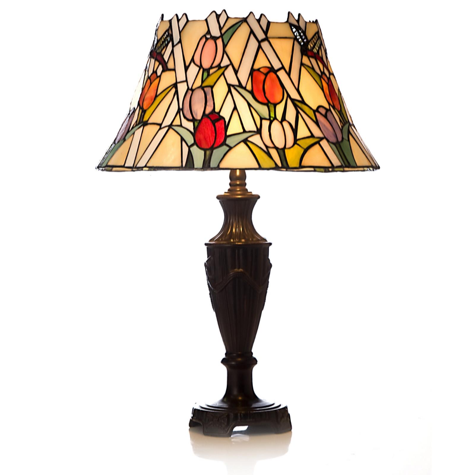 Tiffany Style Handcrafted Tulip Lattice Table Lamp QVC UK