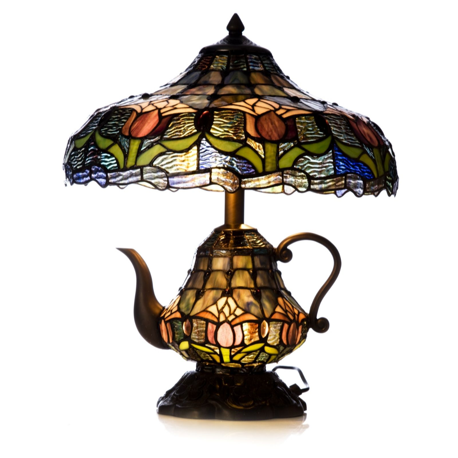 Exceptional Tiffany Style Handcrafted Floral Teapot Novelty Lamp   QVC UK