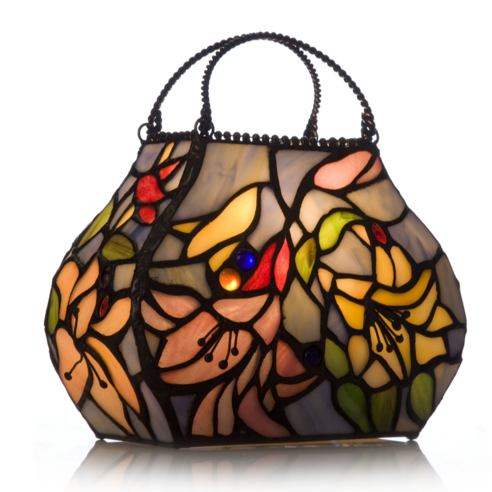 Tiffany Style Handcrafted Lily Handbag Novelty Lamp   QVC UK