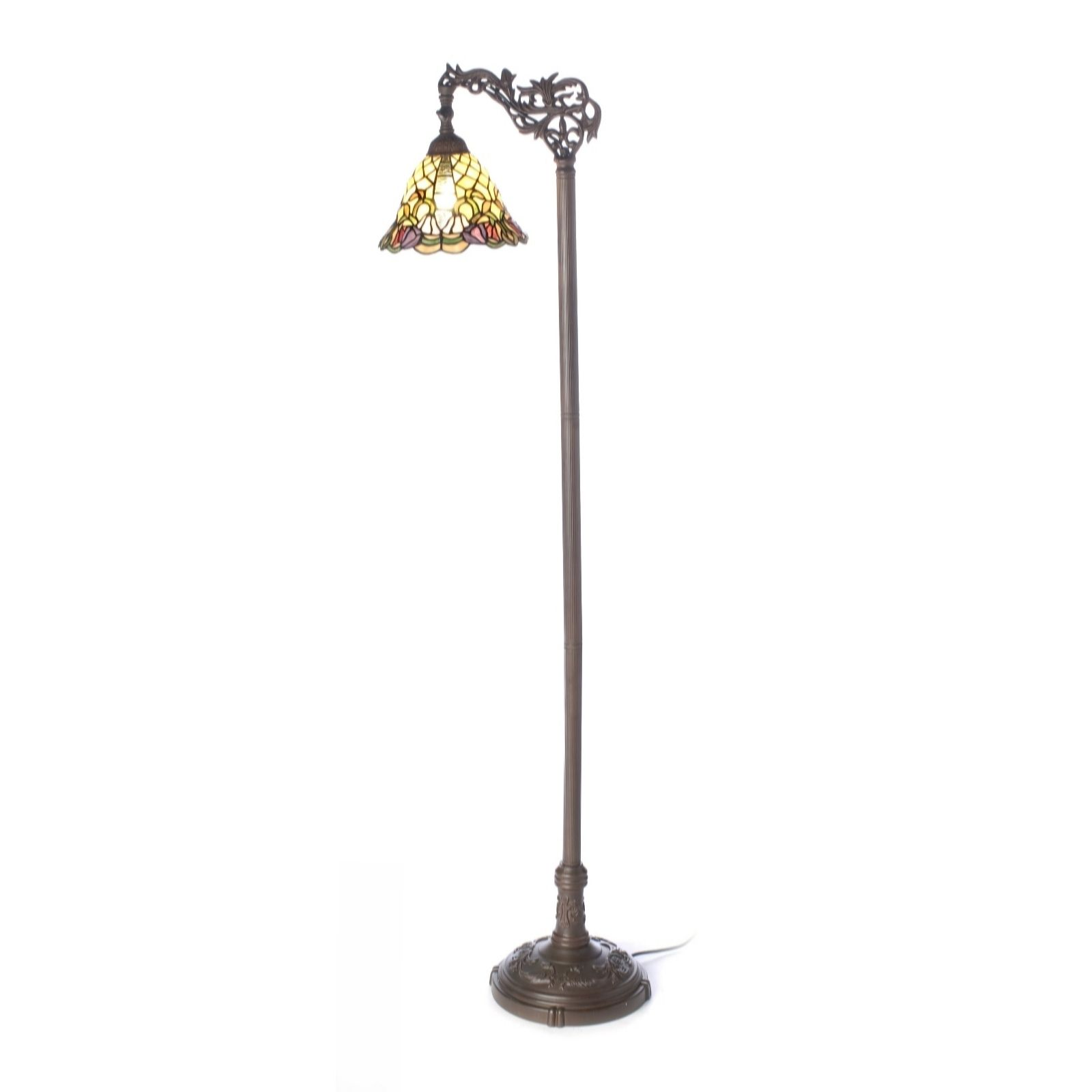 Charming Tiffany Style Handcrafted Floral Trumpet Floor Lamp   QVC UK
