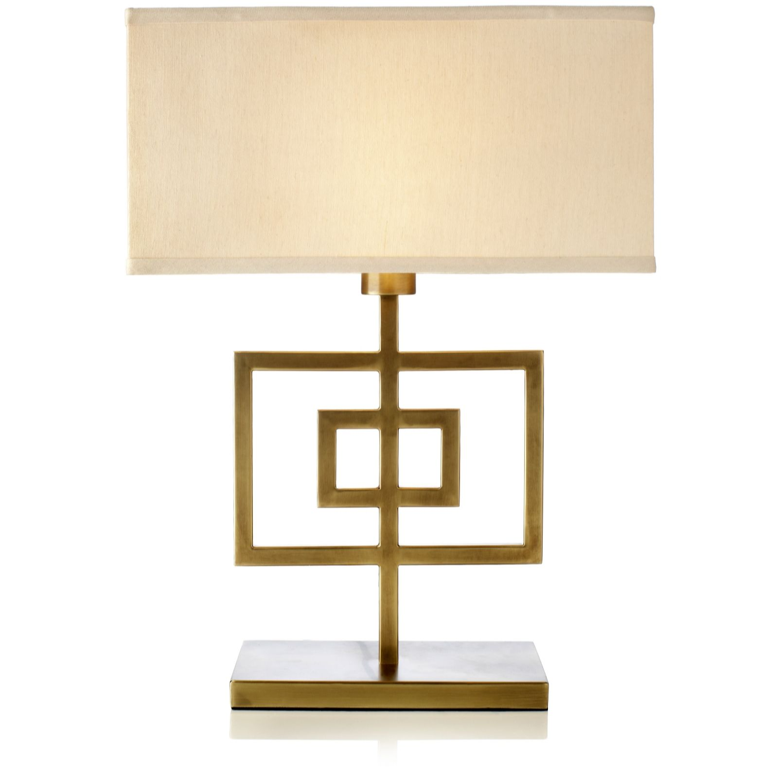 Kelly Hoppen Gold Square Rectangular Lamp With Shade   QVC UK
