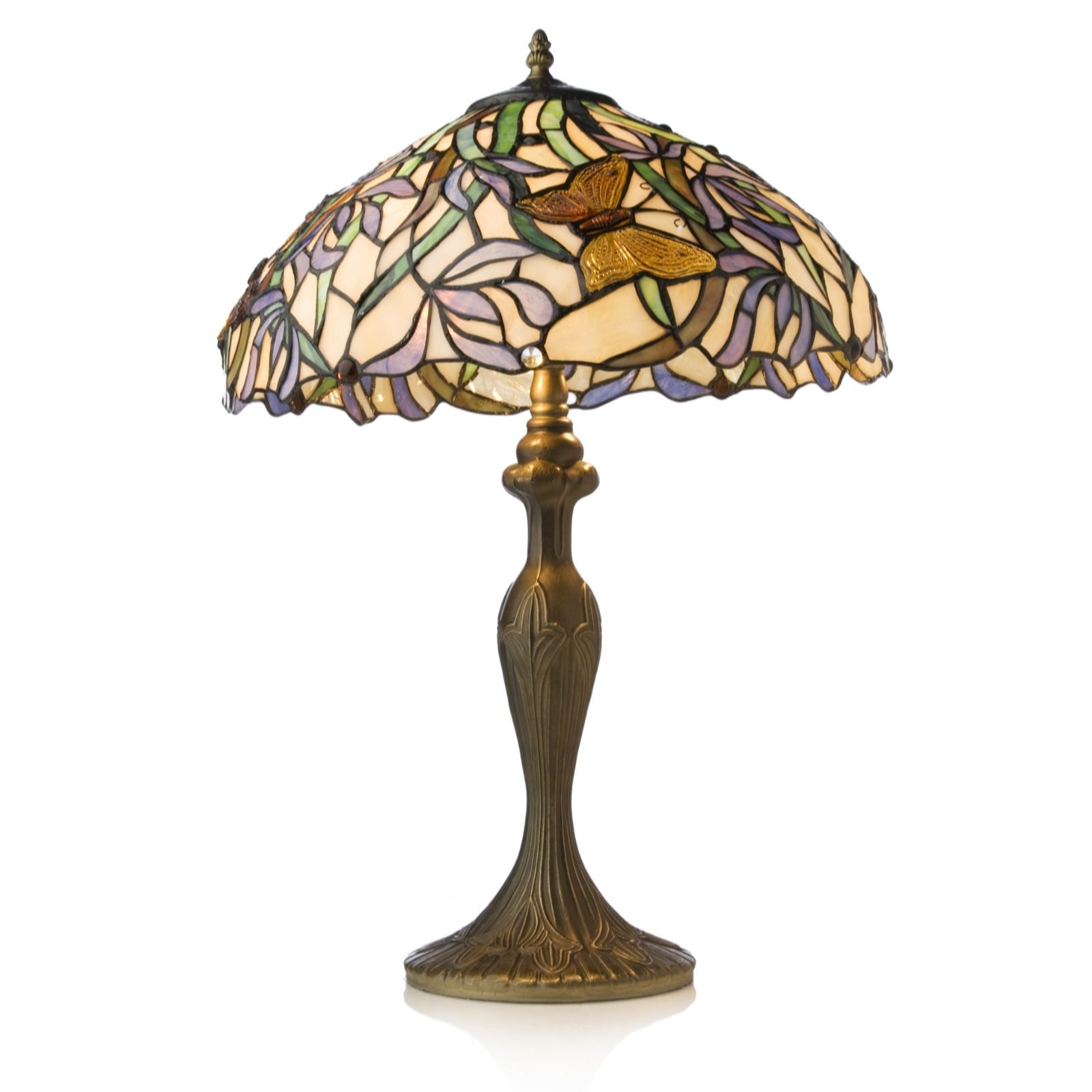 Tiffany Style Handcrafted Butterfly Reeds Table Lamp   QVC UK