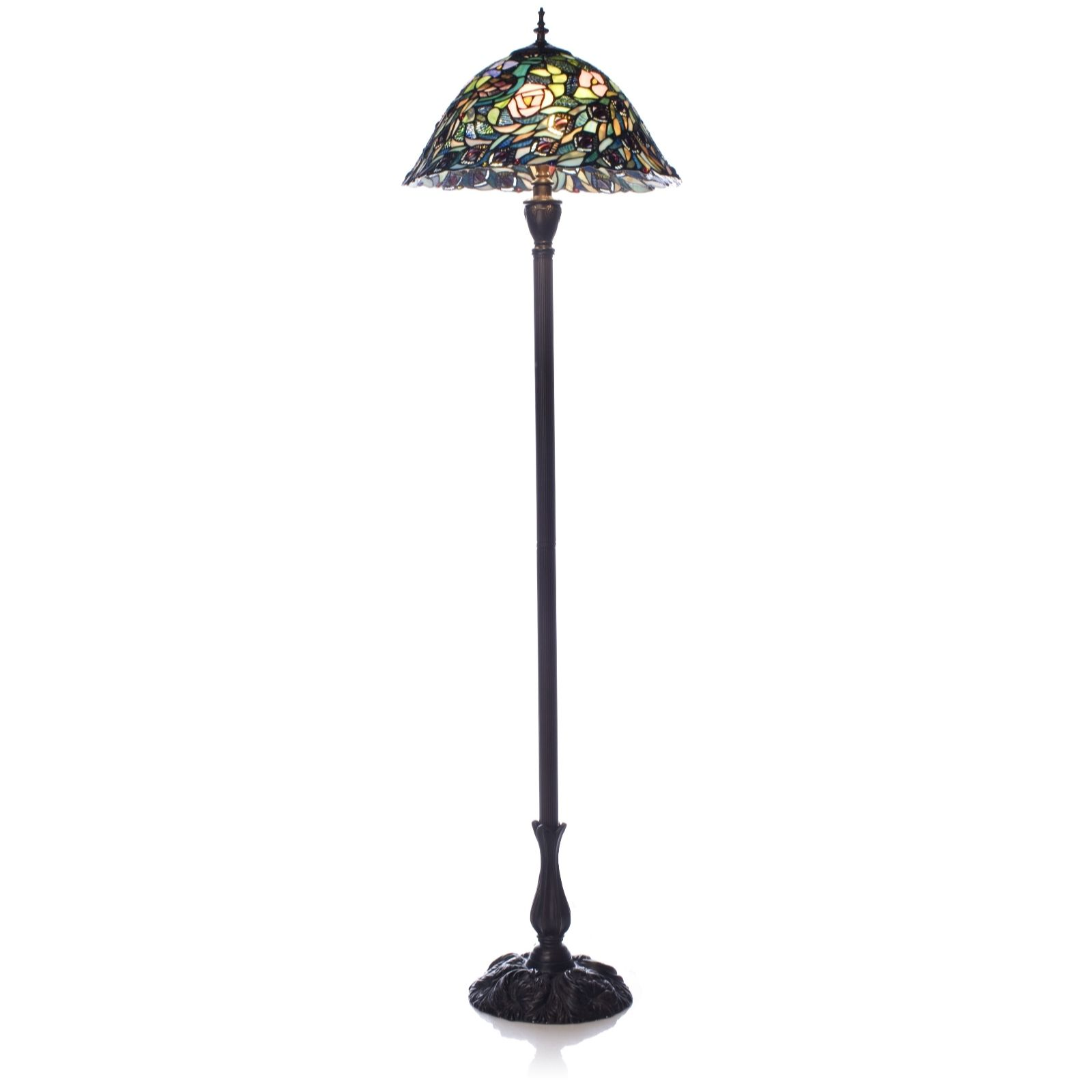 Nice Tiffany Style Handcrafted Peacock Garden Floor Lamp   QVC UK