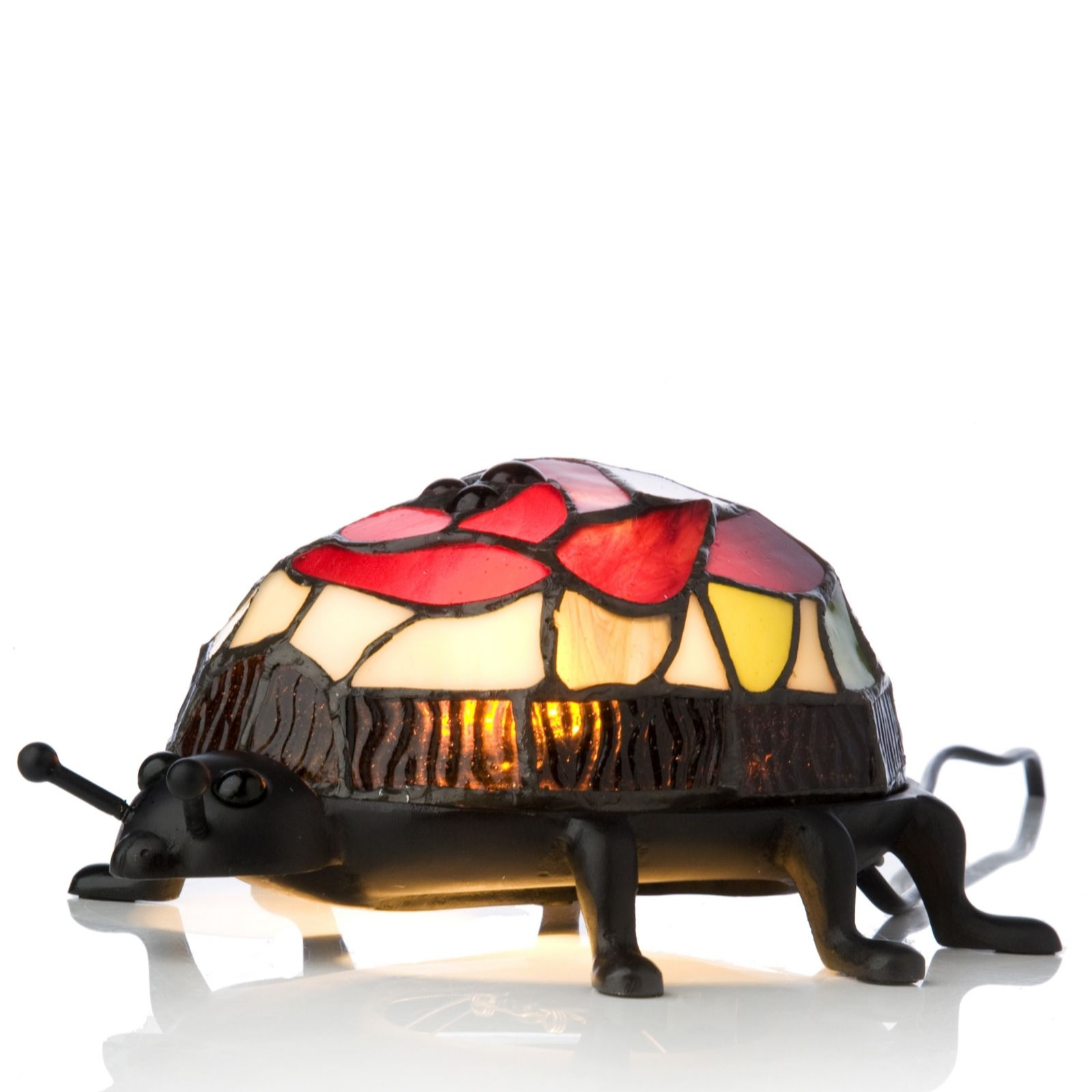 Tiffany Style Handcrafted Ladybird Novelty Lamp   QVC UK