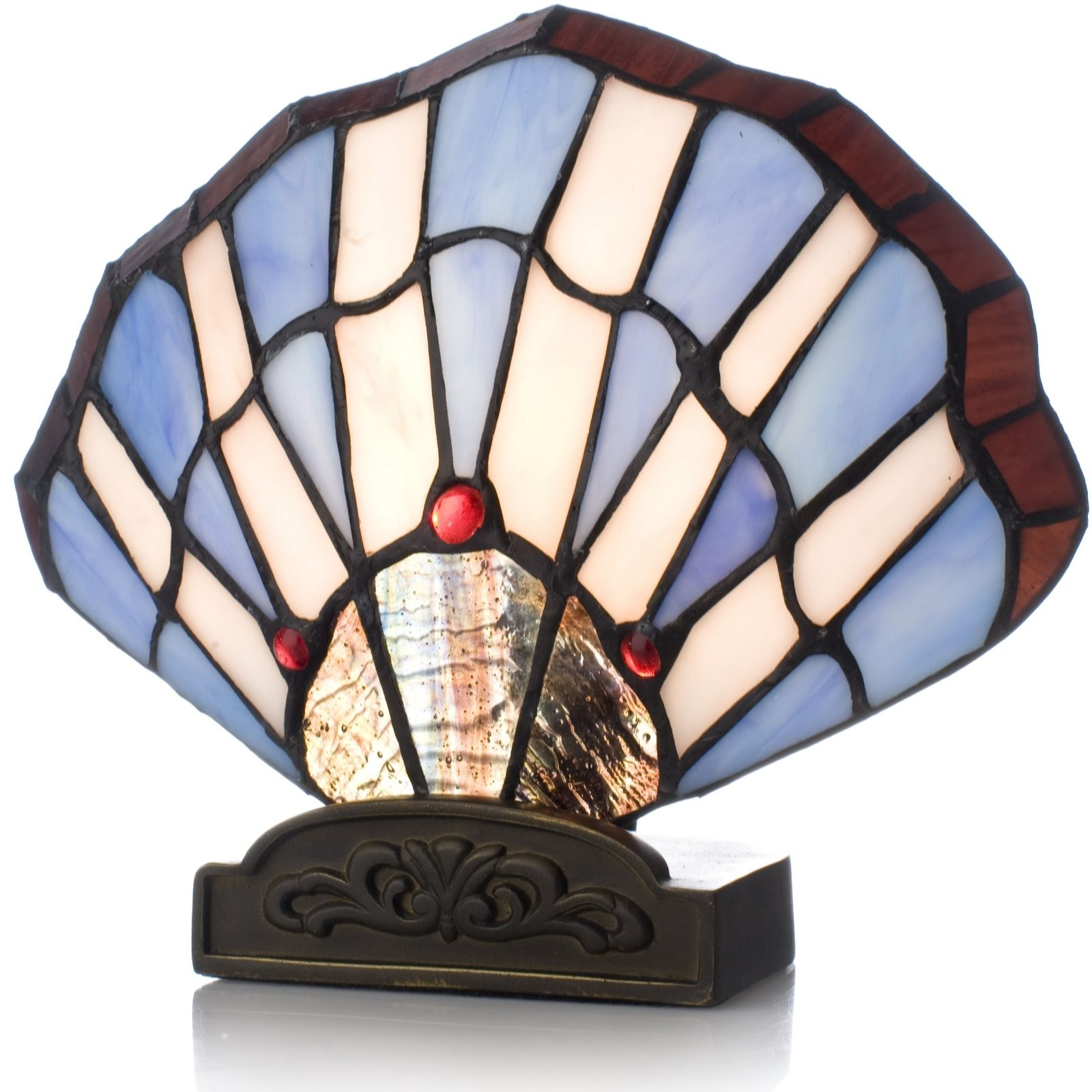 Tiffany Style Handcrafted Clam Shell Novelty Lamp   QVC UK