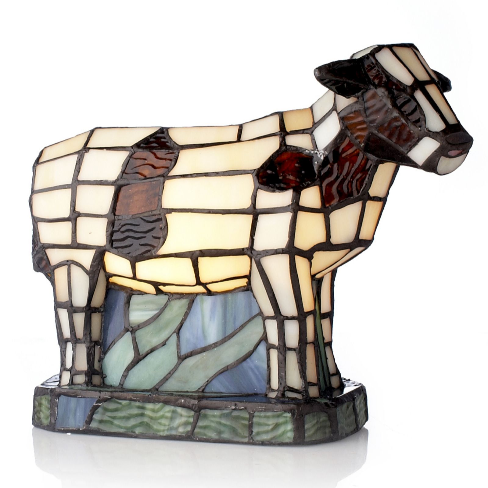 Tiffany Style Handcrafted Ayrshire Cow Novelty Lamp   QVC UK