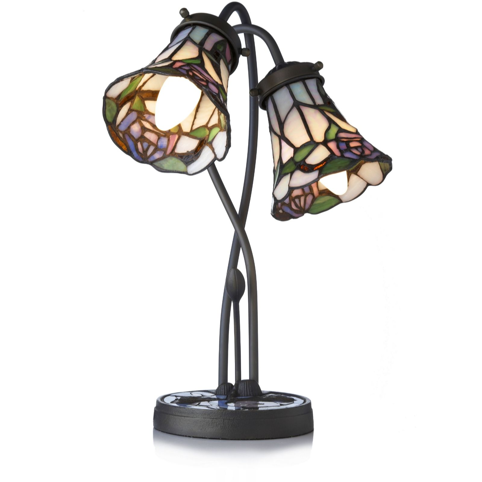 Tiffany Style Handcrafted Rose Trumpet Accent Lamp   QVC UK