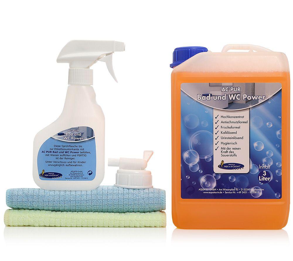 AQUA CLEAN PUR Bad  U0026 WC Reiniger Inkl. MF Sanitärtücher 3 Tlg.   Page 1 U2014  QVC.de