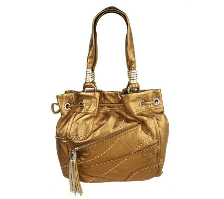 B. Makowsky Glove Leather Drawstring Shopper with Stitch Detail