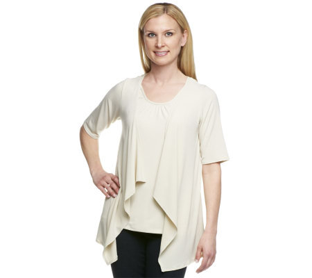 Susan Graver Liquid Knit Cardigan with Crochet Back and Tank Set