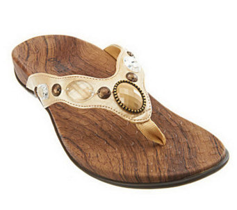 Vionic w/ Orthaheel Carla Orthotic Thong Sandals w/ Jewel Detail - A221500