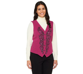 Bob Mackie's Smart Denim Sequin and Embroidered Vest - A228200