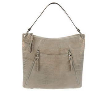 B. Makowsky Sun Washed Croco Embossed Leather Hobo Bag - A231000