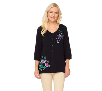 Denim & Co. Floral Embroidered Button Front Top with Tank - A232100