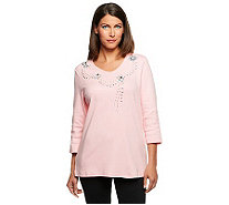 Quacker Factory Summer Sparkle Jewelry V-neck 3/4 Sleeve T-shirt - A232400