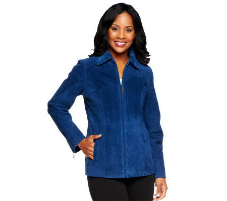 Dennis Basso Washable Suede Zip Front Jacket with Pockets