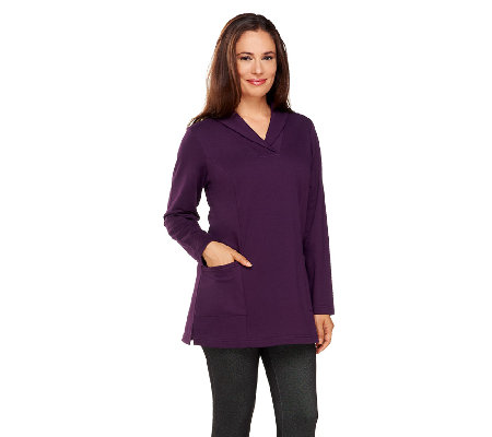 Denim & Co. Active Knit Long Sleeve Shawl Collar Tunic
