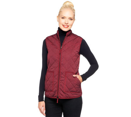 logo by lori goldstein quilted printed vest w faux suede trim page 1 qvc com