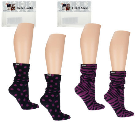 MUK LUKS 2 Pair Patterned Fleece Socks with Box