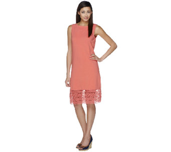 Liz Claiborne New York Sleeveless Knit Dress w/ Lace Hem - A253200