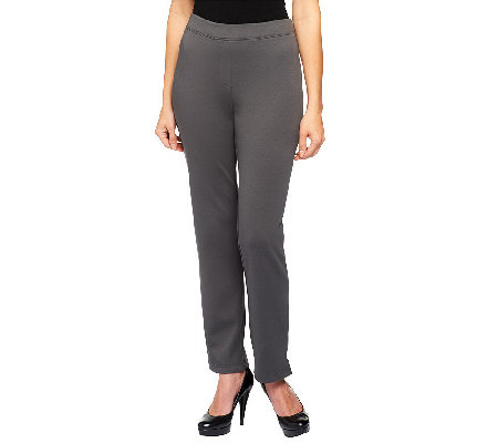 Joan Rivers Wardrobe Builders Petite Ponte Knit Slim Pants