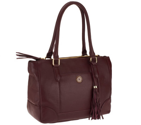 Isaac Mizrahi Live! Bridgehampton Lamb Leather Tote