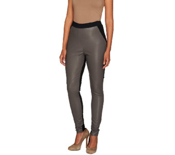 Styled by Joe Zee Faux Leather Pants with Ponte Inserts - A257900