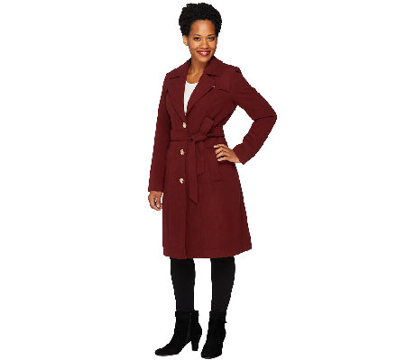 Dennis Basso Faux Wool Notch Collar Trench Coat