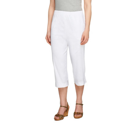 """As Is"" Denim & Co. ""How Timeless"" Regular Capri Pants W/Tab"