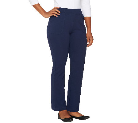 Denim & Co. Active Petite French Terry Boot Cut Pants