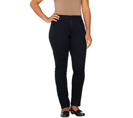Women with Control Petite Black Denim Slim Leg Pants