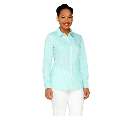 Susan Graver Striped Stretch Cotton Poplin Button Front Shirt