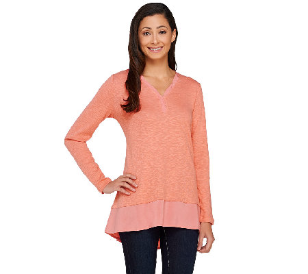 LOGO by Lori Goldstein Slub Knit Top with Twist V-neck Detail