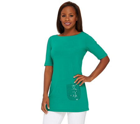 Joan Rivers Short Sleeve Tunic with Sequin Pocket
